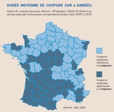 Carte de France des coupures d'électricité