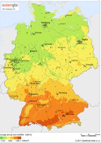 Gisement solaire allemand (carte, source SolarGIS)