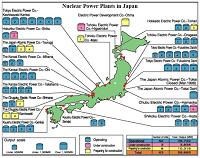Carte des centrales nucléaires au Japon (source Mediapart)