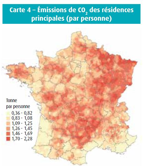 localisation en France des émissions de CO2 des résidences principales