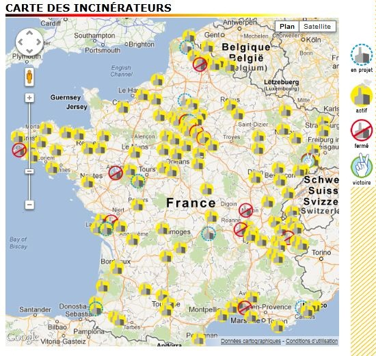carte des incinerateurs
