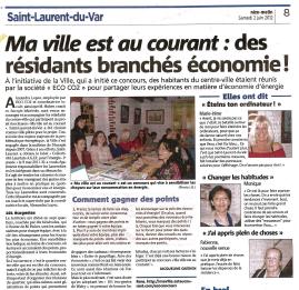 Article Nice Matin sur ma ville est au courant à Saint-Laurent-du-Var