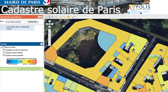 Cadastre solaire au niveau des bureaux d'eco CO2
