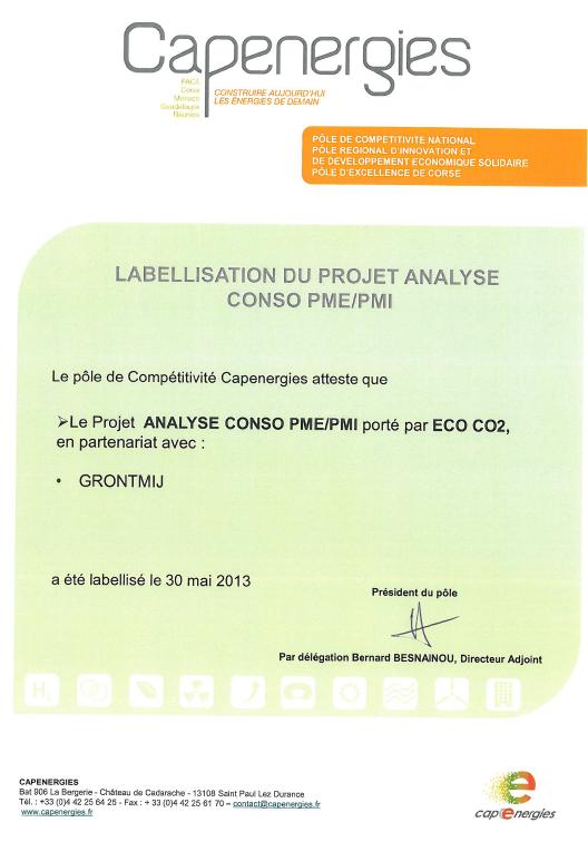 Certificat de labellisation Analyse Conso PME PMI par Capenergies