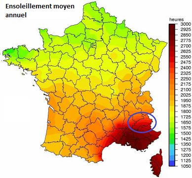 carte ensoleillement France et Hautes Alpes