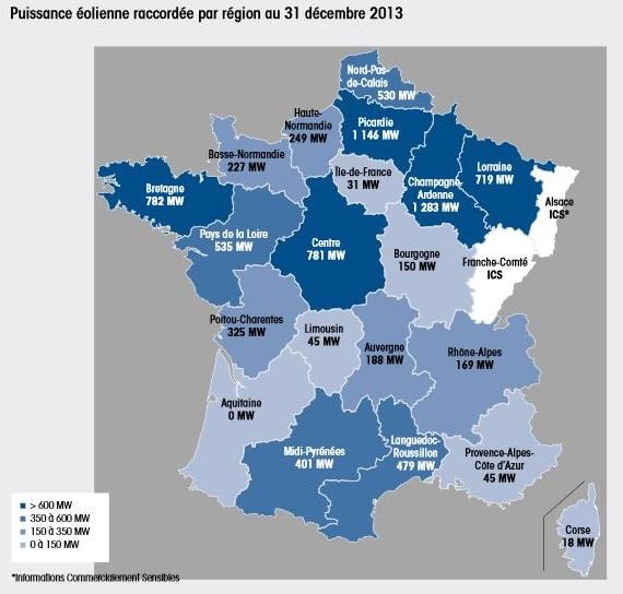 Carte de France des installations éoliennes au 31/12/2013