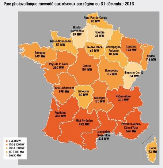 carte de France des installations solaires photovoltaiques au 31/12/2013