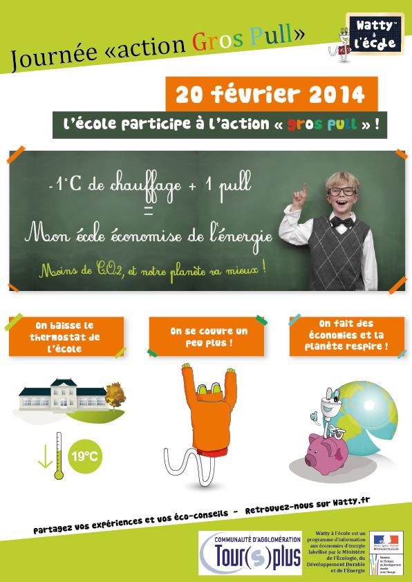 Watty à l'école : Affiche opération Gros Pull pour la communauté d'agglomération Tour(s)plus