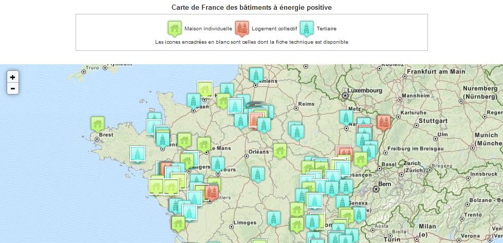 carte de France des BEPOS by Ademe