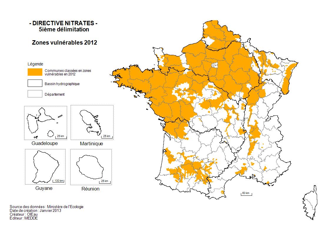 carte de France des nitrates