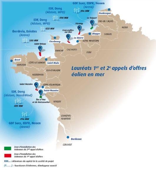 Lauréats 1er et 2eme appels d'offres eolien en mer