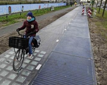 Piste cyclable solaire (source Ouest France)
