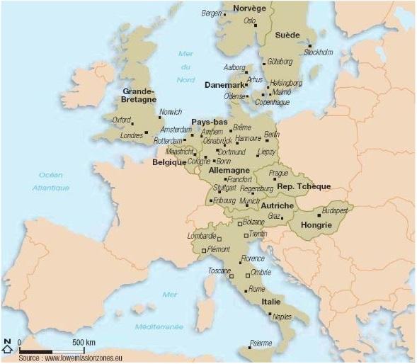 Carte des zones à faible émission en Europe