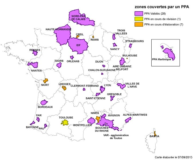 carte de France des zones couvertes par un ppa