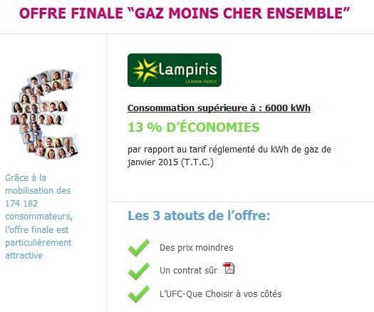 synthèse offre Lampiris gaz ensemble moins cher 2015 Que Choisir