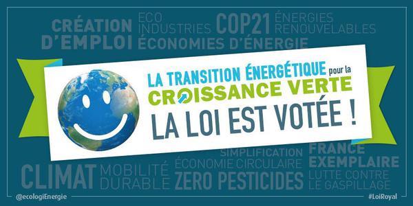 La loi pour la transition énergétique et la croissance verte est votée