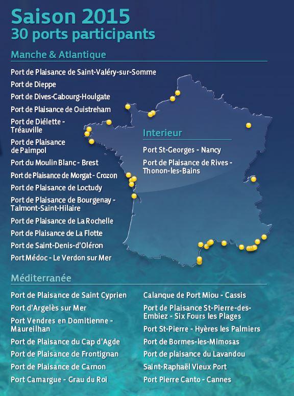 vacances propres 2015, liste des 30 ports participants à l'opération : je navigue, je trie