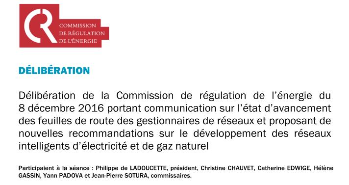 délibération de la CRE du 8 décembre 2016 - 17 recommandations pour les smart-grids