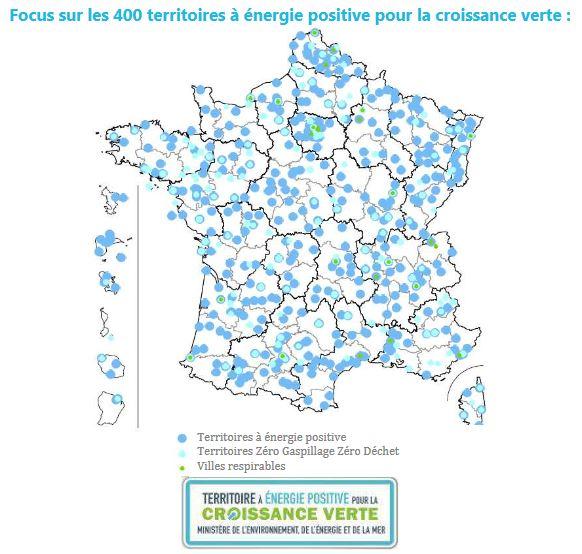 carte de France des territoires à énergie positive pour la croissance verte