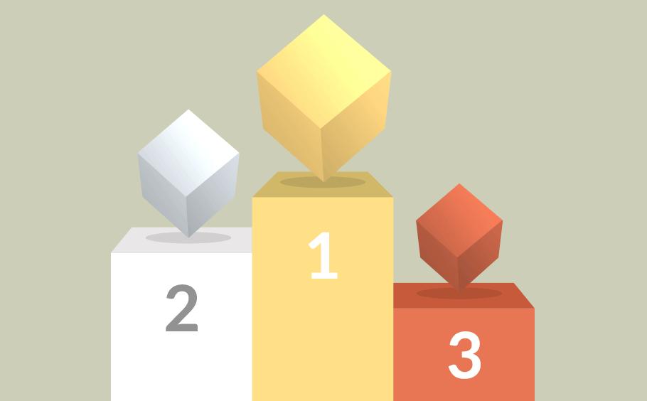 cube2020 : podium, les cubes or argent et bronze