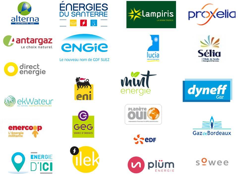logos des fournisseurs d'énergie