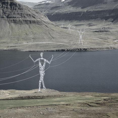 Des pylones électriques aux formes humaines