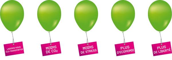 Ballons verts de la journée du gtransport public