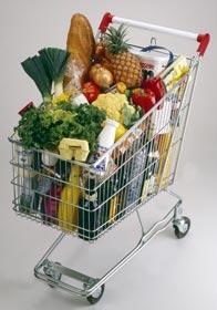 Chariot supermarché rempli
