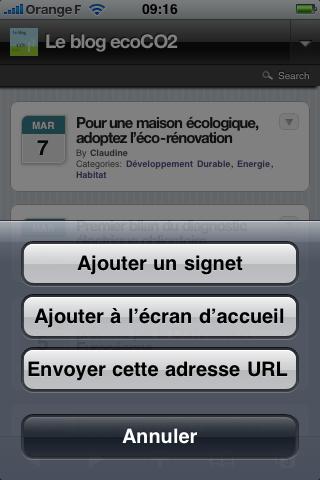 Ajouter le blog ecran accueil iPhone