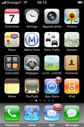 icone blog eco CO2 sur ecran iPhone