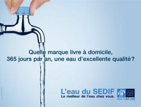eau du robinet publicite SEDIF