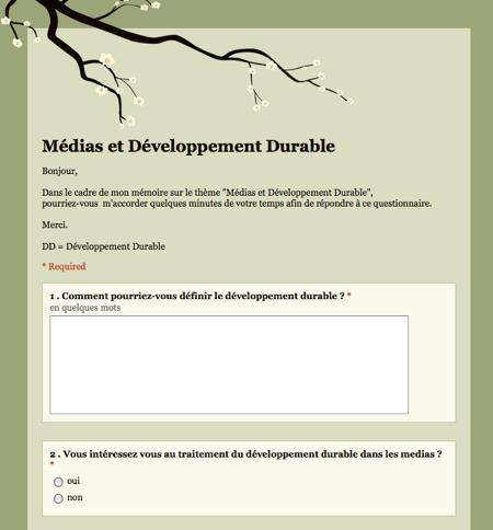 Questionnaire Developpement Durable