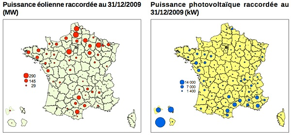 statistisques photovoltaique et eolien en France 2009