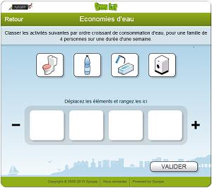 Classement en ordre croissant des principaux usages en eau domestique