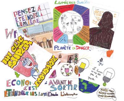 Concours éclairage, dessins d'enfants pour Watty à l'école