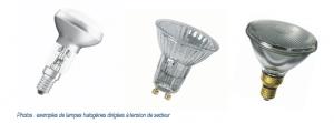 lampes dirigées à tension de secteur