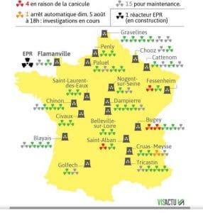 Canicule : production de certains réacteurs arrêtée